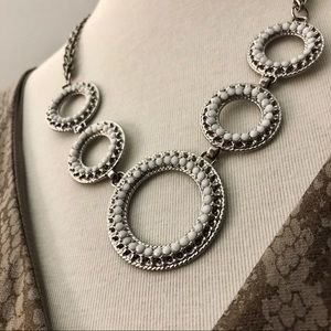 White and Silver Statement Necklace, Daisy Fuentes